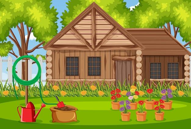 Illustratie van scène met houten huis in het bos