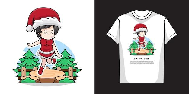 Illustratie van schattig meisje draagt kerstman kostuum met t-shirt design Premium Vector