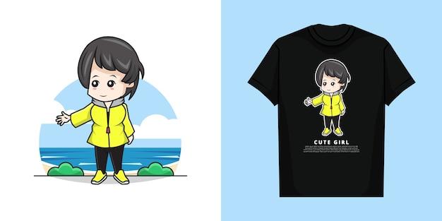 Illustratie van schattig meisje karakter met t-shirt design