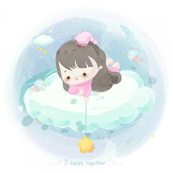 Illustratie van schattig meisje op een wolk