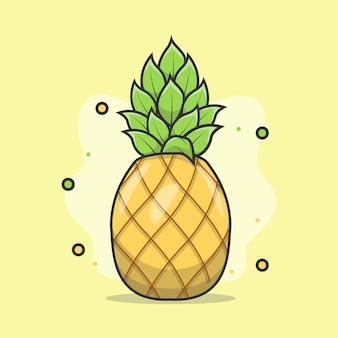 Illustratie van schattig realistisch ananasfruit