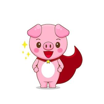 Illustratie van schattig varken als een held