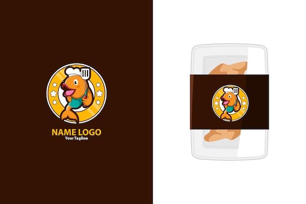 Illustratie van schattig vismascotte-logo voor visproducten of zeevruchtenwinkel