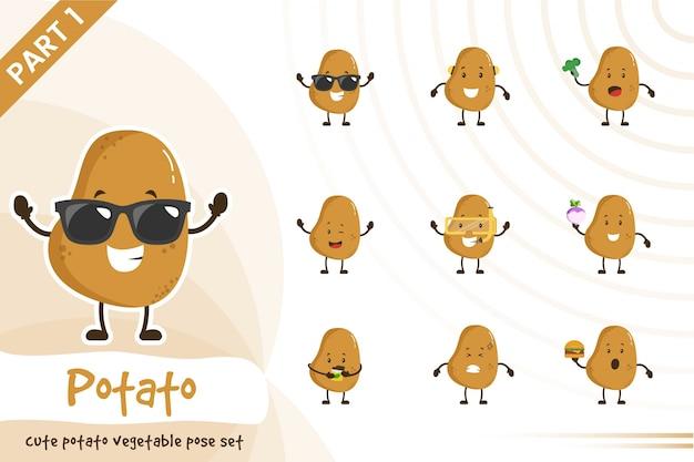 Illustratie van schattige aardappel plantaardige set