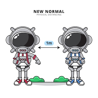 Illustratie van schattige astronaut doen fysieke afstand in het nieuwe normale tijdperk