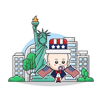 Illustratie van schattige baby die uncle sam-kostuum met liberty landmark-achtergrond draagt