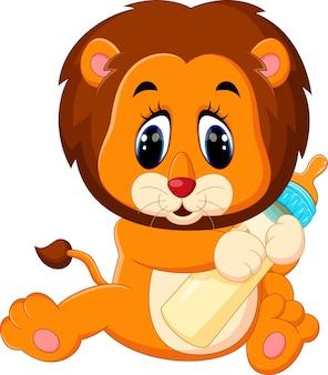 Illustratie van schattige baby leeuw bedrijf melk fles