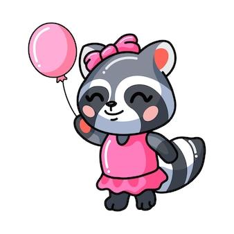 Illustratie van schattige baby wasbeer meisje cartoon met roze ballon
