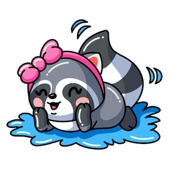 Illustratie van schattige baby wasbeer meisje cartoon op water