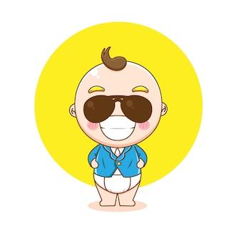 Illustratie van schattige babyjongen karakter als een baas