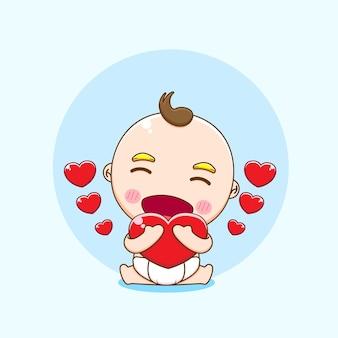 Illustratie van schattige babyjongen karakter knuffelen liefde