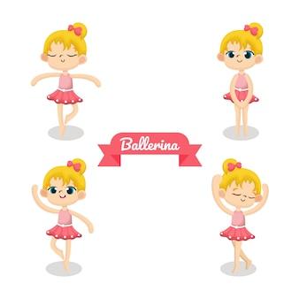 Illustratie van schattige ballerina met roze doek