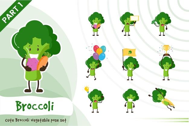 Illustratie van schattige broccoli plantaardige set