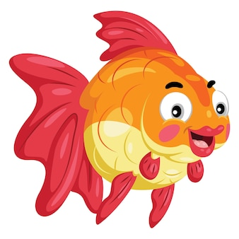 Illustratie van schattige cartoon goudvis