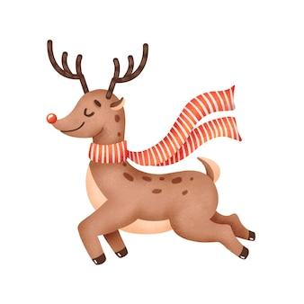 Illustratie van schattige cartoon kerst rendieren geïsoleerd op een witte achtergrond