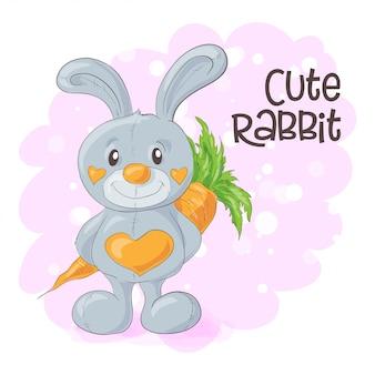 Illustratie van schattige cartoon konijn met een wortel.