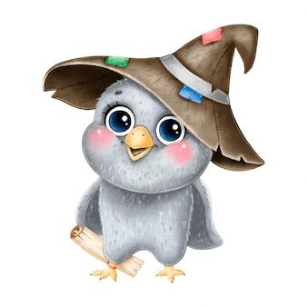 Illustratie van schattige cartoon magische uil met tovenaar hoed en brief.