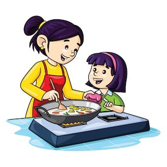 Illustratie van schattige cartoon moeder en kinderen koken in de keuken