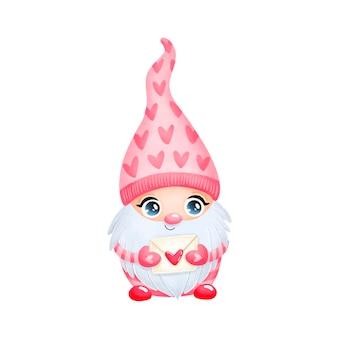 Illustratie van schattige cartoon valentijnsdag gnome verliefd geïsoleerd