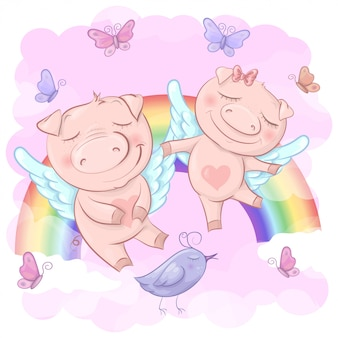 Illustratie van schattige cartoon varkens op een regenboog