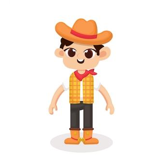 Illustratie van schattige cowboy karakter met cartoon stijl
