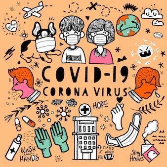 Illustratie van schattige doodle voor covid-19 coronavirus, hand getrokken illustratie