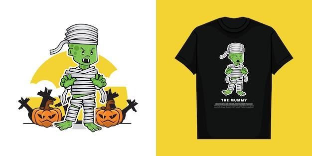 Illustratie van schattige enge mummie in de halloween-dag met t-shirtontwerp