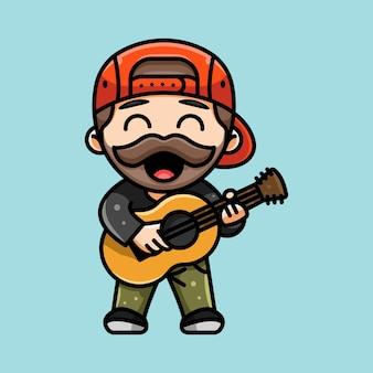 Illustratie van schattige gitarist bebaarde man