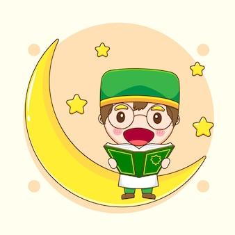 Illustratie van schattige islamitische jongenskarakter zittend op de maan en leesboek