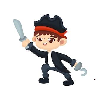 Illustratie van schattige jongen met piraat kostuum