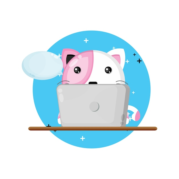 Illustratie van schattige kattenmascotte die laptop met behulp van