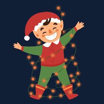 Illustratie van schattige kerstelf die op een slinger slingert.