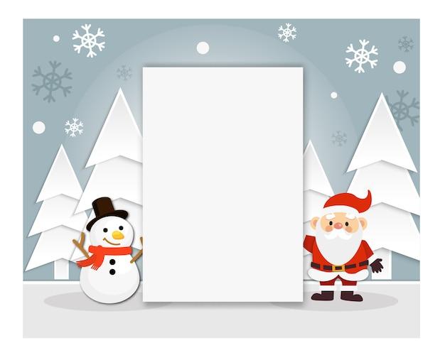 Illustratie van schattige kerstman en sneeuwpop stripfiguur