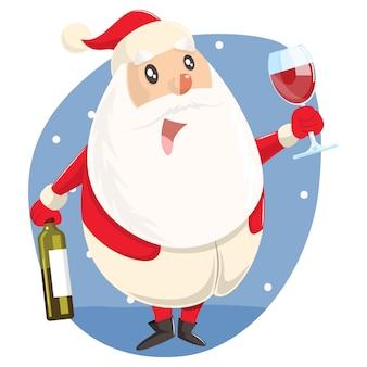 Illustratie van schattige kerstman met fles wijn en glas.
