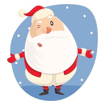 Illustratie van schattige kerstman met geopende handen.