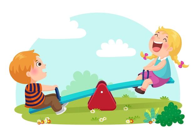 Illustratie van schattige kinderen plezier op de wip op de speelplaats