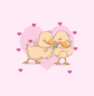 Illustratie van schattige kleine eend paar verliefd