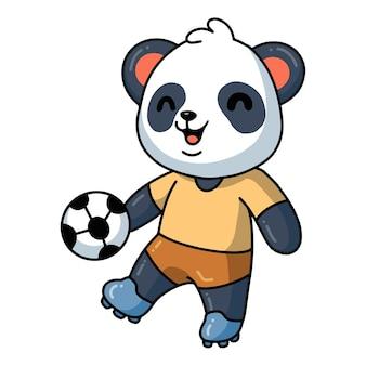 Illustratie van schattige kleine panda-cartoon die voetbal speelt