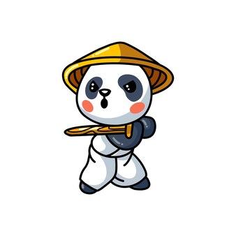 Illustratie van schattige kleine samurai panda cartoon