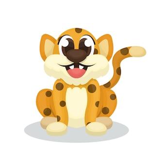 Illustratie van schattige luipaardkarakter met cartoon stijl
