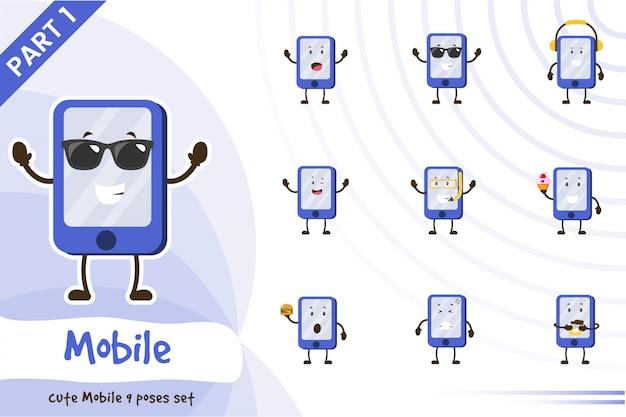 Illustratie van schattige mobiele set