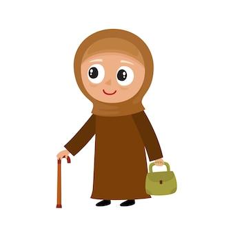 Illustratie van schattige moslim oude vrouw in hijab met stok geïsoleerd op wit, illustratie van gelukkige grootmoeder in stijlvolle kleding met grijs haar. senior dame op wandeling.
