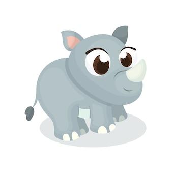 Illustratie van schattige neushoorn karakter met cartoon stijl