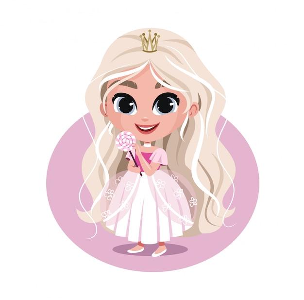 Illustratie van schattige prinses met lolly.