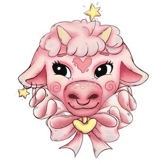 Illustratie van schattige roze kalf met strik