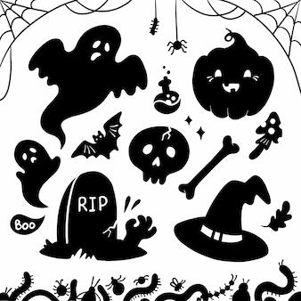 Illustratie van schattige silhouetten voor halloween