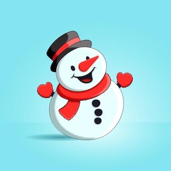 Illustratie van schattige sneeuwpop met muts en sjaal