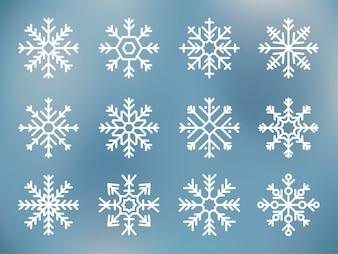 Illustratie van schattige sneeuwvlok pictogrammen