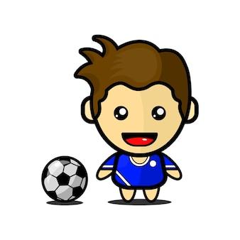 Illustratie van schattige voetballer premium vector