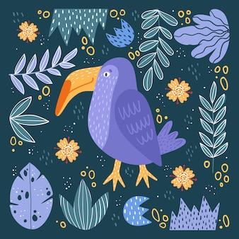 Illustratie van schattige vogel en bloemen.